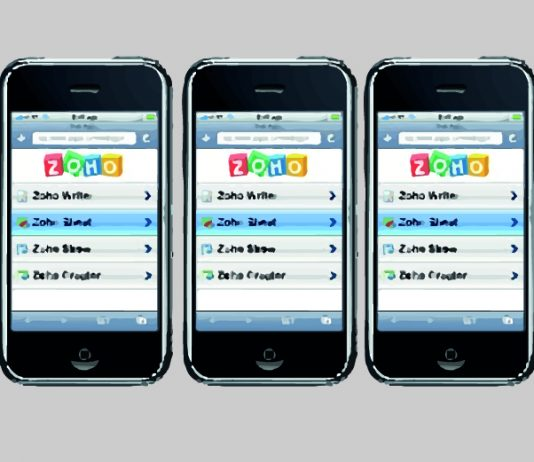 Zoho en la pantalla de varios dispositivos moviles