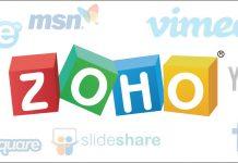 Logo de ZOHO y de las redes sociales mas usadas