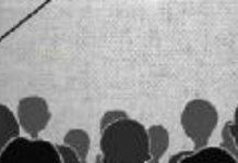 Dibujo de una persona de espaldas en una conferencia