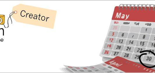 Calendario de mayo y el logo de Zoho por el dia zoho Creator maraton formación online