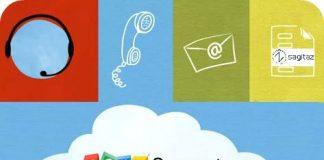 Logo de Zoho support en una nube y dibujos de telefono, sobre y releoperador