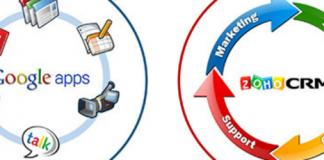Logo de Zoho CRM y logo de Google Apps