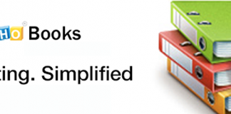 Logo de Zoho Books y un dibujo de unas carpetas de colores con el simbolo del dolar