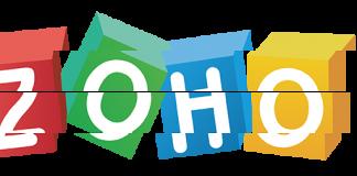 Logo de Zoho entre interrogantes fragmentado