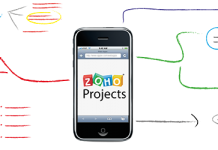 Logo de Zoho Projects en la pantalla de un movil y un esquema