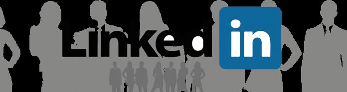 Logo Linkeding sobre dibujo de siluetas de personal de negocios