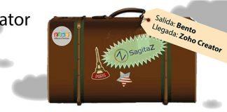 Maleta antigua con el logo de sagitaz y etiqueta con salida de bento y llegada a zoho creator