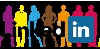 Logo de Linkedin sobre una imagen de siluetas de personal de negocios de colores