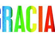 Palabra GRACIAS con los colores de zoho sobre fondo blanco