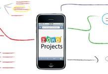 Logo de Zoho Projects en la pantalla de un movil y un esquema