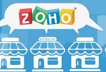 Dibujo de unas casas y un bocadillo de dialogo comun con el logo de Zoho sobre fondo azul