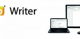 Logo de Zoho Writer y dispositivos con la pantalla de la herramienta