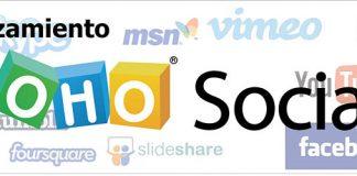 Logo de Zoho Social sobre fondo de logotipos de redes sociales