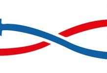 Logo de zoho CRM en un cuadrado rojo con una flecha señalando logo de Outlook integracion