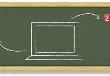 Logo de Zoho CRM y zoho invoice en una pizarra dibujada con un dibujo de un ordenador