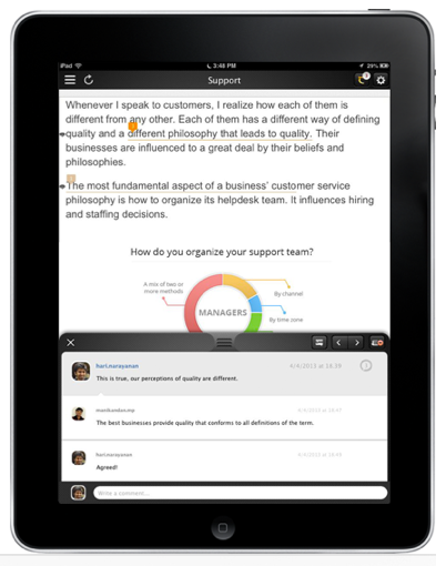 DOComment app zoho for ipad