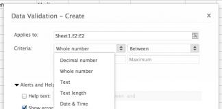 captura de pantalla de la pestaña de validacion en ingles de zoho sheet