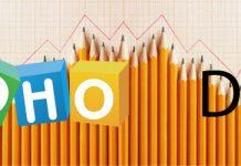 Logo de Zoho Docs sobre una imagen de muchos lapices formando montañas