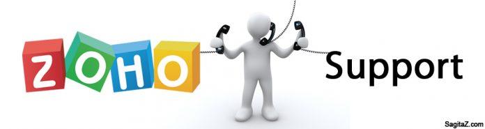 logo de zoho support e imagen de un muñeco hablando con tres telefonos