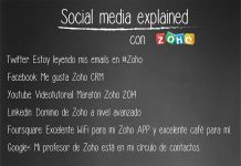 pizzarra social media explained con el logo de zoho y sagitaz
