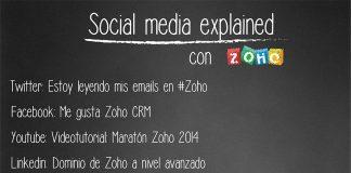 pizzarra social media explained con el logo de zoho y sagitaz