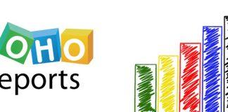 Logo de Zoho Reports en una imagen de una mano dibujando unos gráficos