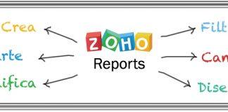 Logo de Zoho Reports y flechas señalando las opciones que ofrece