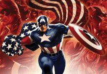 capitan america con fondo de imagenes comic cogiendo una bandera de usa corriendo