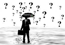dibujo de un hombre con traje llevando un paraguas y la lluvia son interrogantes