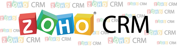Logo de Zoho CRM sobre un fondo con el mismo logo mas pequeño