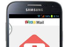 movil samsung en la pantalla se muestra la app de zoho mail para android