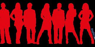 siluetas de personas de color rojo sobre fondo blanco