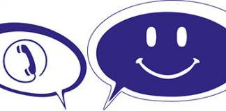figura bocadillo sonriente y telefono morado y blanco