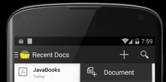 aplicacion para android de zoho docs en la pantalla de un movil negro