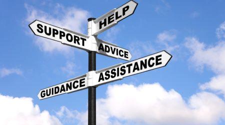 panel de señales help support advice assistance guidance