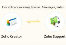 logo de zoho creator y zoho support con una flecha en medio
