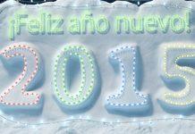 dibujo de montaña de nueve con texto feliz año nuevo 2015