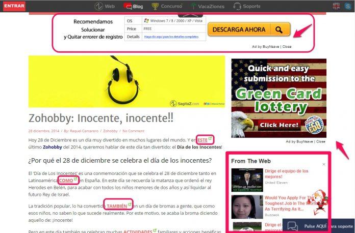 captura de pantalla de la publicidad de sagitaz
