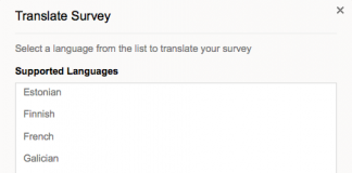 zoho survey captura de pantalla de la seleccion de idiomas