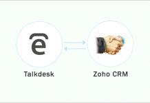 logo de talkdesk con una flecha señalando al logo de zoho crm