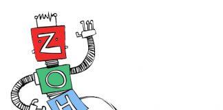 robot zoho dibujado en un fondo blanco conectado a un enchufe con texto de zoho creator