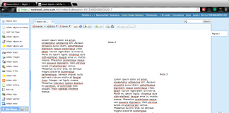 zoho notebook captura de pantalla de la pestaña para añadir notas
