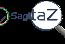 Logo de sagitaz con una lupa