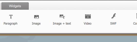 zoho sites captura de pantalla de la barra de menu de edicion