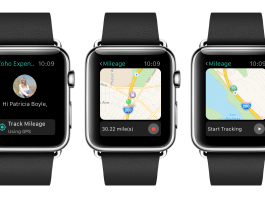 apple watch negro con la aplicacion zoho expense en pantalla