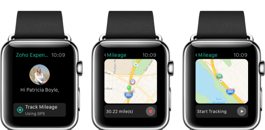apple watch negro con la aplicacion zoho expense en pantalla