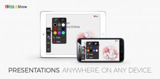 zoho show aplicacion para android en la pantalla de dos dispositivos moviles