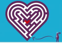 logo zoho crm en dibujo de un hombre con traje mirando hacia un laberinto en forma de corazon