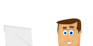 dibujo de un hombre con corbata verde en una oficina señalando la pizarra