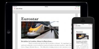 app zoho writer en la pantalla de dispositivos moviles